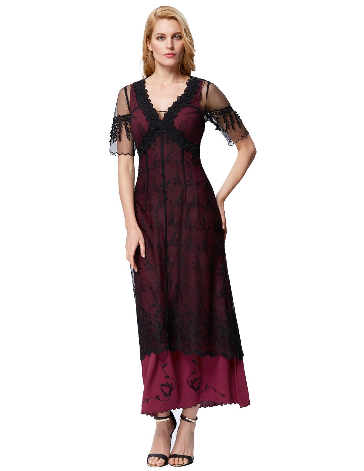 Women Retro Victorian 50s 60s Lace Long Maxi Gown Edwardian Evening Party Dress