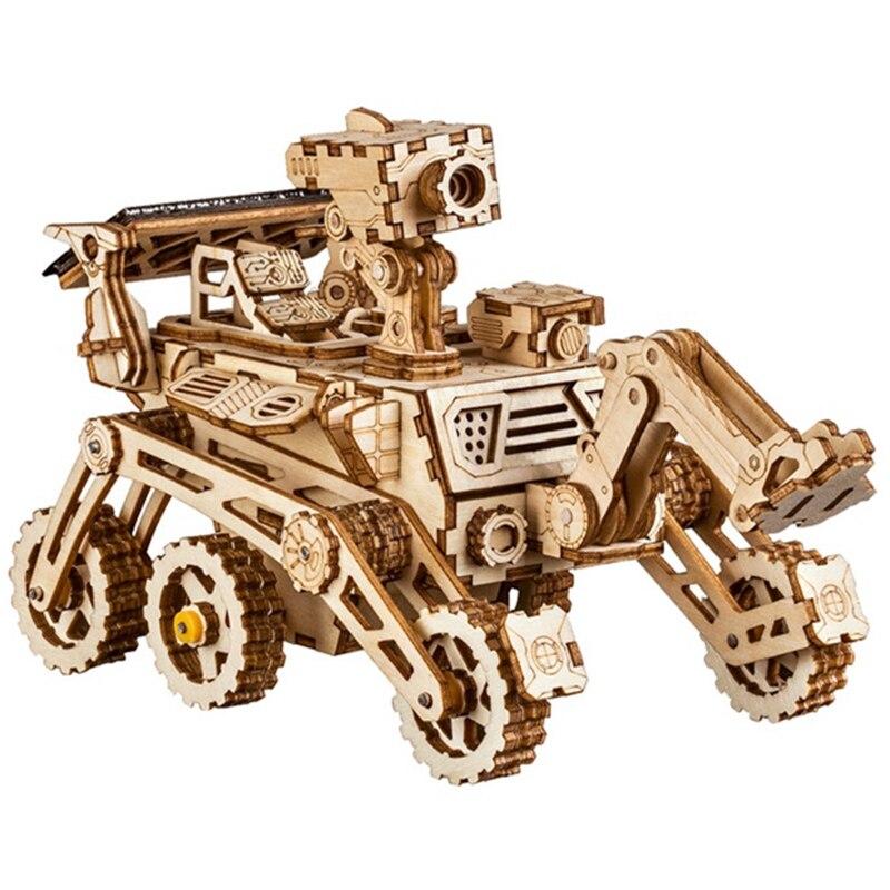Robotime Home Decor Figurine Diy Wooden Miniature Curiosity Rover Solar Energy Decoration Accessories Gifts For Children Ls402