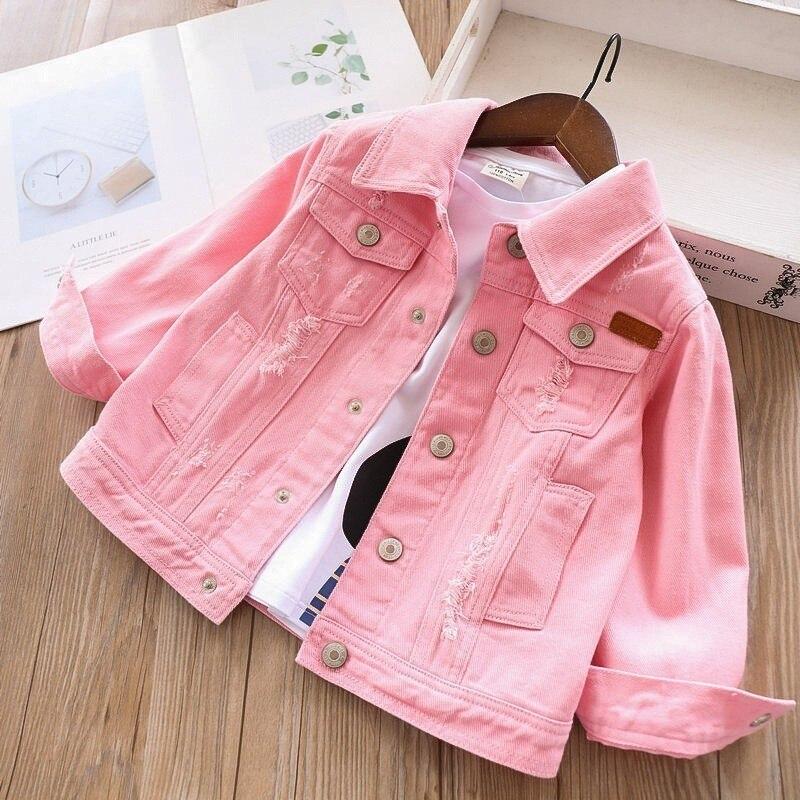 Primavera outono jaqueta jeans do bebê menina denim jaqueta para meninas roupas branco rosa crianças outerwear casacos crianças roupas moda