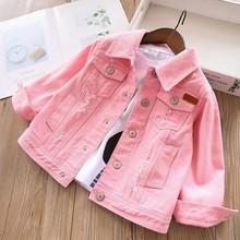 2020 Lente Meisjes Denim Jassen Baby Jeans Outfit Wit Roze Kinderkleding Kinderen Bovenkleding Casual Boetieks