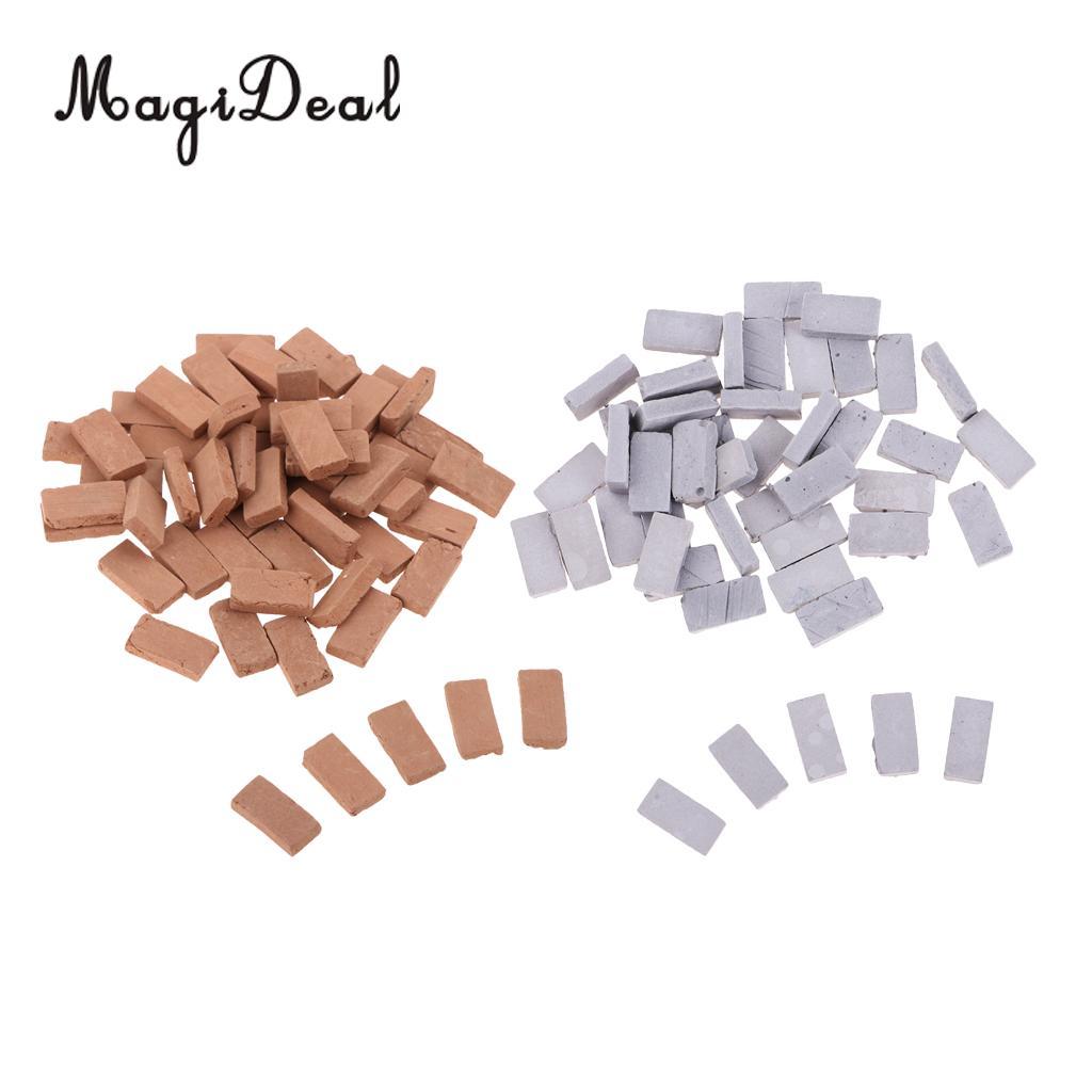 100x 1/35 Mini Realistic Clay Bricks Model For Sand Table Armor Scenery Building Accs