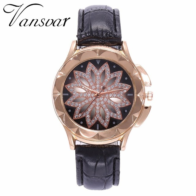 Best Selling Fashion Women Rose Gold Flower Rhinestone Watch Luxury Casual Female Quartz Watch Relogio Feminino Drop Shipping 4