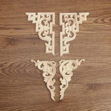 Exquisite 2Pcs/set Retro Wood Carved Decal Corner Onlay Applique Frame for Home Door Cabinet Furniture Decorative Crafts 2 Type(China)