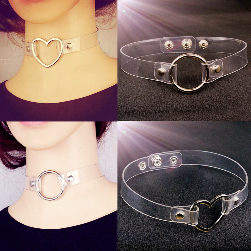 Transparent short necklace metal heart round pendant collar elegant neck chain fashion womens accessories