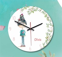 Wooden Wall Clock Brief Modern Acrylic Print Cartoon Girl Silent Mute Europe Circular Clocks For Kids Living Room Home Decor