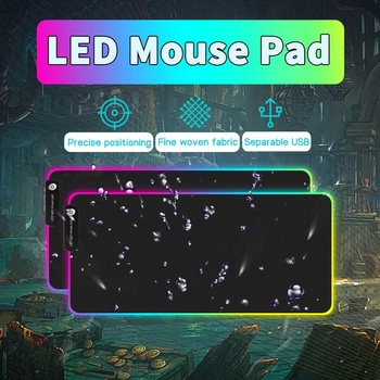 Large RGB Gaming Mouse Pad Locking Edge Keyboard LED Light USB Wired  Non-Slip Mice 7 Dazzle Colors