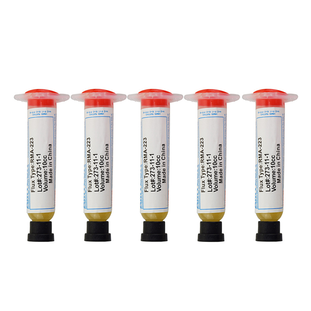 OSSIEAO 5pcs New 10cc RMA-223 BGA SMD Syringe Solder Paste Flux Grease Soldering Paste