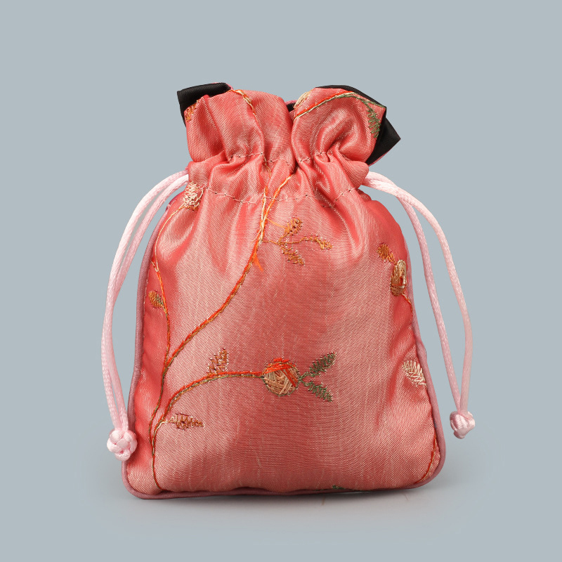 Satin Drawstring Bag Chinese Silk embroidered Brocade bag Damask Jewelry Product Packing Pouch Christmas/Wedding Gift Bag 10PCs