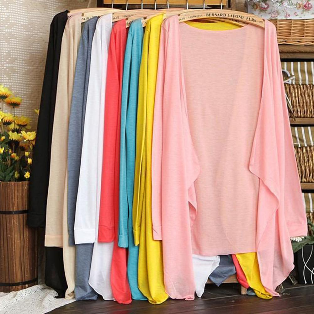 Women Summer Kimono Cardigan Sun   Blouse     Shirt   2019 Beach Long Sheer Cover Ups Sunscreen Sun-proof Outwear Solid 8 Candy Colors