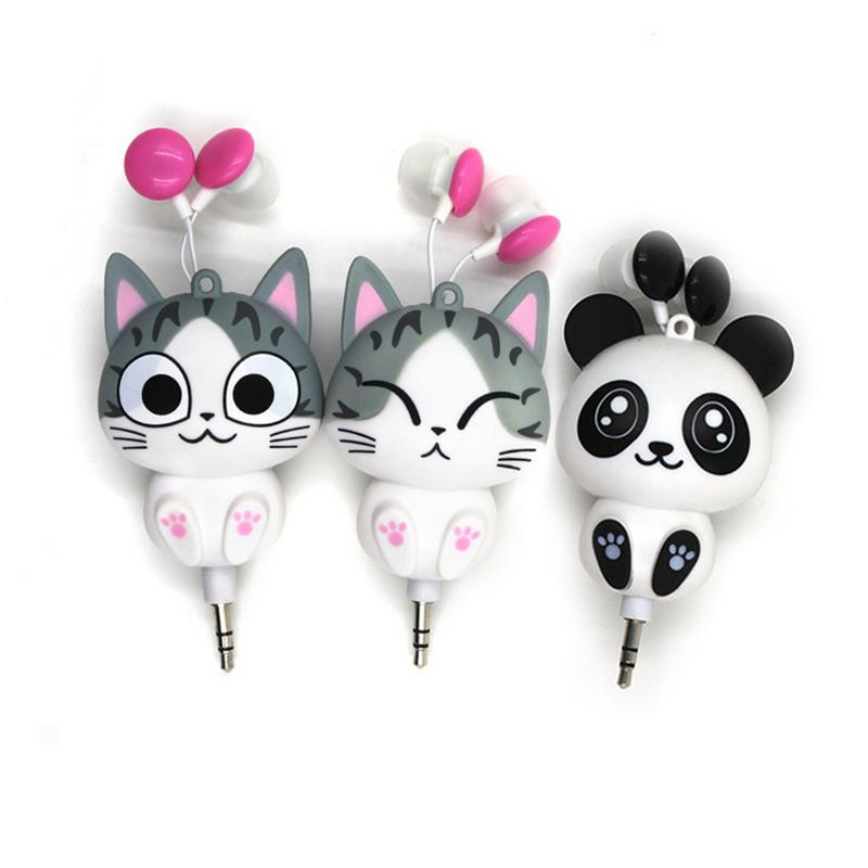 3.5 Mm Wired Retractable In-Ear Earphone Cartoon Cat/Panda Earpiece Clip Earphone For MP3 Mobile Phone Bag Decoration Doll