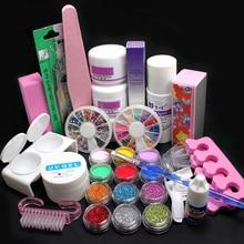 32x DIY Acrylic Glitter Powder Glue File Nail Art UV Gel Tips Decorations Kit