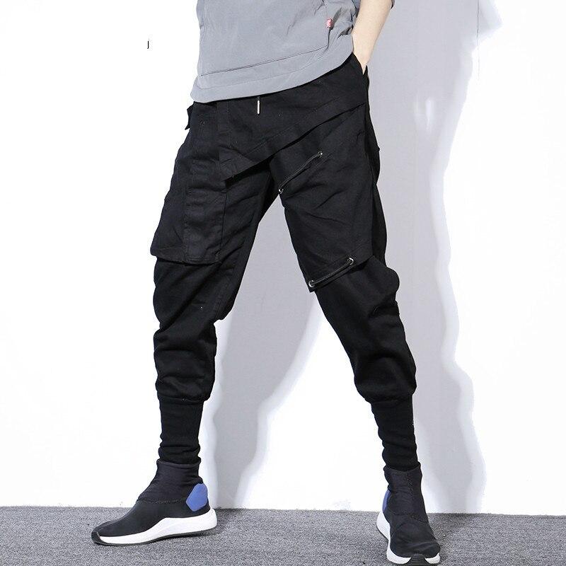 #2336 Neue 2019 Frühling Schwarz Bleistift Harem Hosen Männer Elastische Taille Split Joint Jogger Cargo Hosen Streetwear Fashion