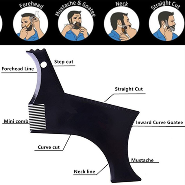 Peine de barba perfecto para el cuidado de la cara de los hombres transparente negro esténcil peine Shaper para Barba estilizando el revestimiento de la herramienta moldeadora de la barba plantilla