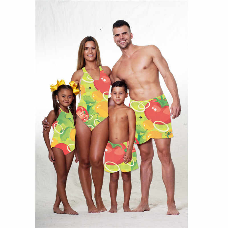 9982b77cfac0f Detail Feedback Questions about New Family Matching Swimsuit Women Girls  One piece Swimwear Men Boys Swim Trunks Fruit Print Swimwear Holiday Parent  kids ...