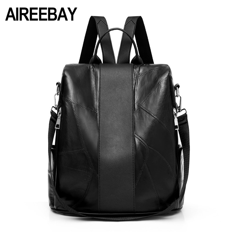 Aireebay Women Leather Backpack School Bag For Teenager Girls Fashion Ladies Daily Shoulder Bag Top-handle Anti Theft Backpacks