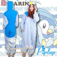 anime Pokemon Go Piplup Onesie Animal Pattern Jumpsuit Adult Sleepwear Polar Fleece Pajamas blue penguin cosplay