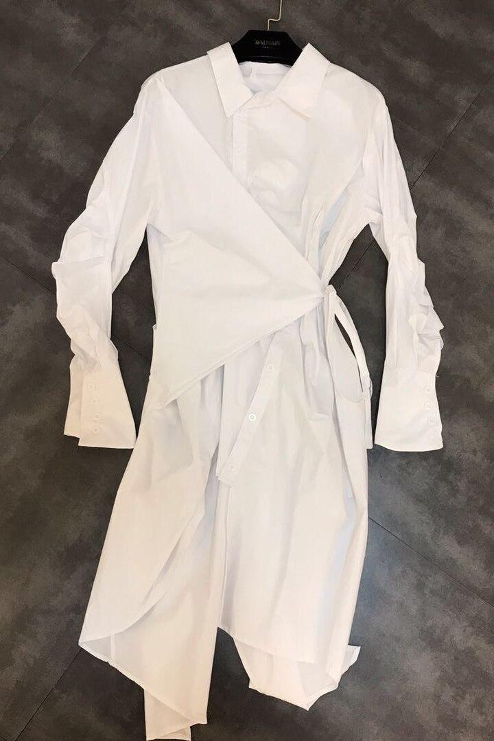 DEAT 2019 nouveau printemps mode femmes vêtements décontracté lâche col rabattu irrégulière chemise robe femme Cestido ZA009100 - 6