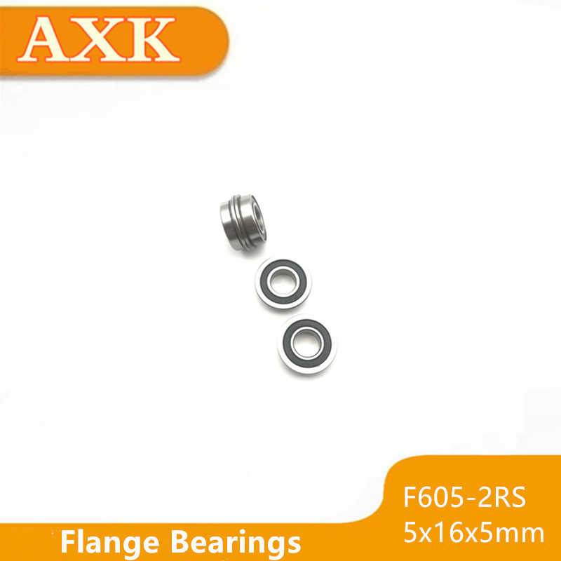 10pcs F605-2RS 5x14x5 mm Flanged Metal Rubber Sealed Ball Bearing F605RS