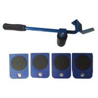 승진! 5 pcs 블루 전문 가구 전송 기중 장치 세트 무거운 물건 이동 손 도구 세트 휠 바 발동기 장치