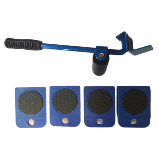 Promotion! 5Pcs Blue Professional Furniture Transport Lifter tool Set Heavy Stuffs Moving Hand Tools Set Wheel Bar Mover Device