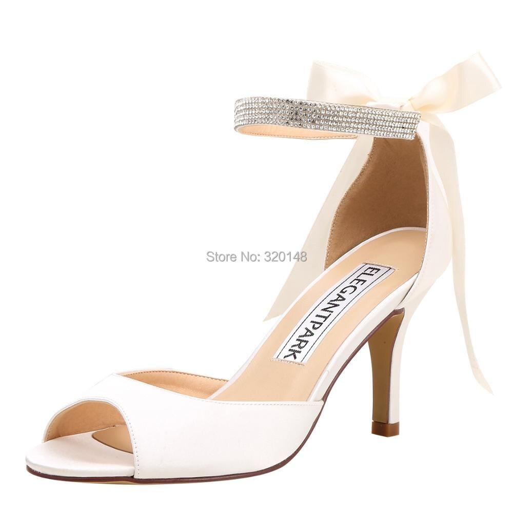 Party Satin Mariage La Talons Ivoire Peep Toe Robe Chaussures De Été Bride  Femme Sandales Mariée Ivory Blanc Prom Cheville Hp1906 white Hauts ... b3fae34da71