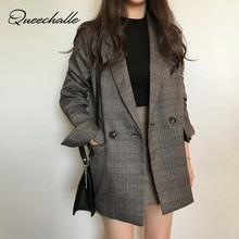 Coffee Gray Plaid Suit Blazer Women 2020 Spring Autumn Offic