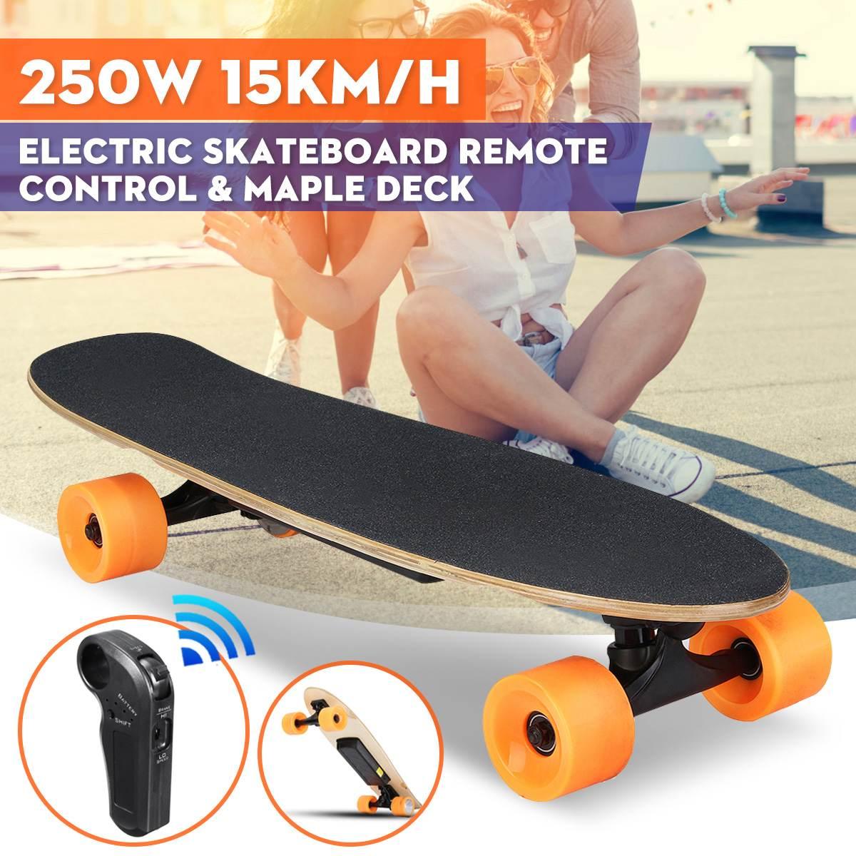 Skateboard électrique Quatre roues Longboard planche de skate Érable Pont Sans Fil À Distance Controll roues pour skateboard Pour Enfants Adultes