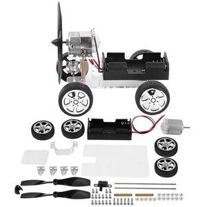 DIY Assembled Wind Model Car Motor Drive Educational Smart Windmill Car Kid Toys Model Building Kits