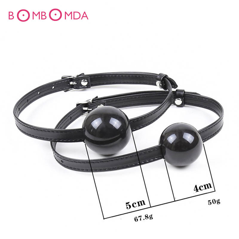 Mouth Ball Gag For Women Men Leather Mouth Gag <font><b>Slave</b></font> Oral Fixation Stuffed Adult Games Flirting Sex Toys image