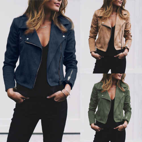 New arrival Women Leather Jacket Cardigan Coat Spring Autumn Lady Casual Coats Biker Flight Zip Up Jackets Outwear Coat