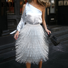 Silver Gray Tassel Knitted Skirt