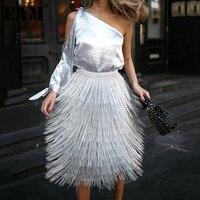 [EAM] 2019 New Spring Summer High Elastic Waist Silver Gray Tassel Knitted Half body Skirt Women Fashion Tide 1C071