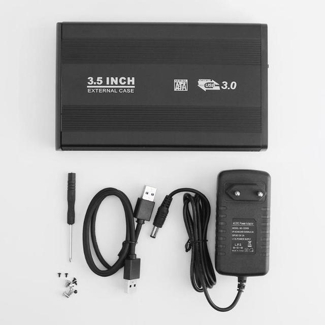 """3.5 inch USB 3.0 SATA Ổ Đĩa Cứng Gắn Ngoài Trường Hợp HDD Enclosure hỗ trợ 4 tb 3.5 """"hd cho Máy Tính Xách Tay máy tính để bàn PC với EU MỸ adapter"""