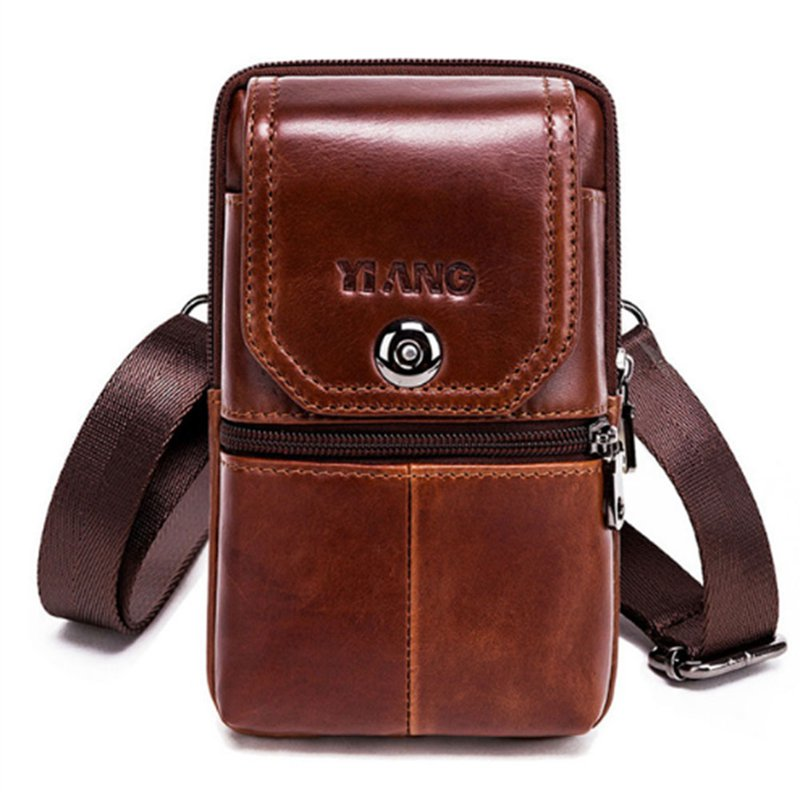 Yiang Genuine Leather Mini Shoulder Messenger Bag Men'S Waist Belt Pack Hip Bum Purse Cell/Mobile Phone Case Model 5