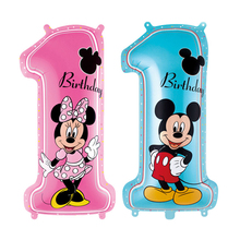 1 шт. с Микки Маусом и Минни Маус комплект Мышь номер 1 год на день рождения Алюминий шар вечерние игрушка вечерние декоративный шар