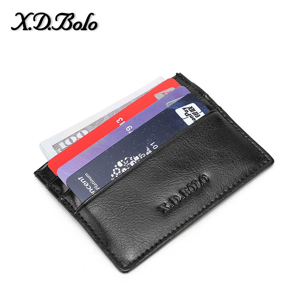 X.D. Bolo Echt Leder Mannen Wallet Credit Kaarthouder Mini Slanke Portefeuilles Card & Id Houders Man Vrouwen Zakelijke Creditcard houder