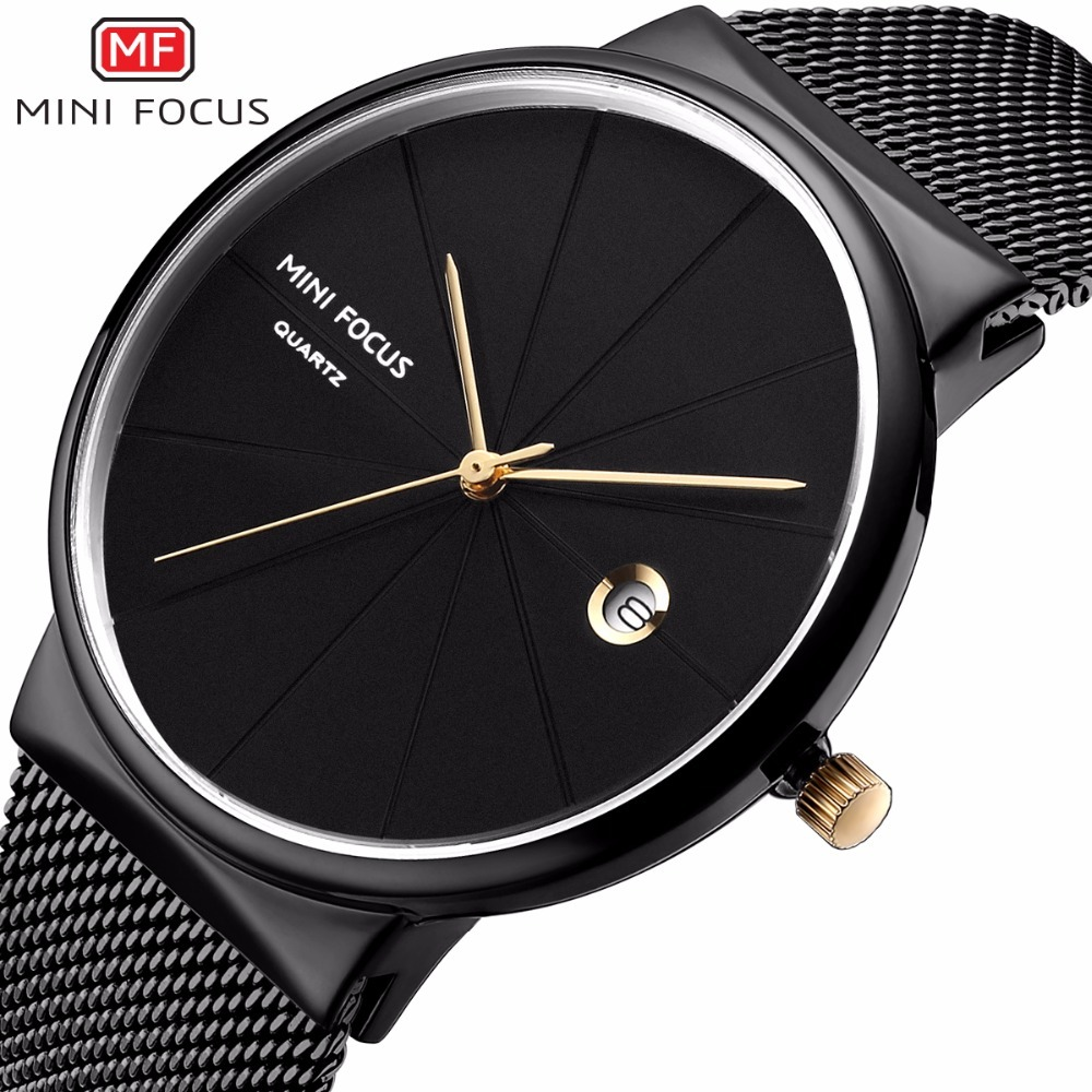 MINI FOCUS Fashion Creative Men Watch Luxury Brand Simple Style Mens Watches Quartz Stainless Steel Band Casual Men's Watches