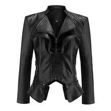 Winter Autumn Women Fashion Gothic Faux Leather Jacket Coat Motorcycle Jackets black color slim sexy short topscasaco feminino