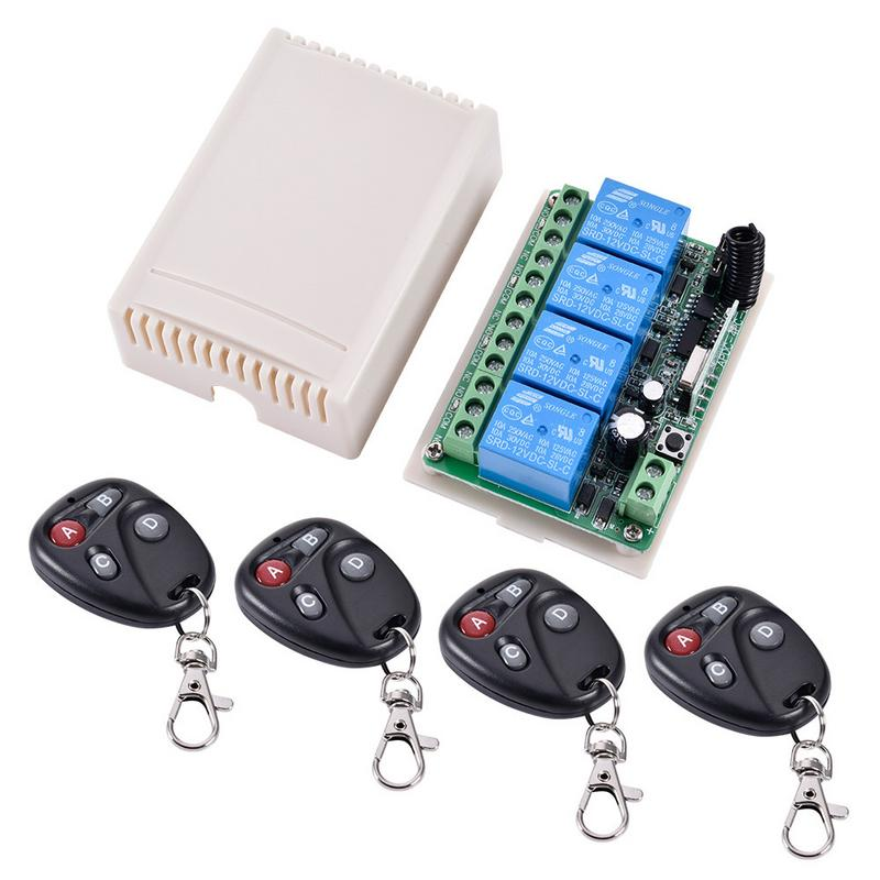 DC 12V 4CH RF Wireless Relay Remote Control Switch System Radio Controller 433.92Mhz Transmitter Receiver ToolsDC 12V 4CH RF Wireless Relay Remote Control Switch System Radio Controller 433.92Mhz Transmitter Receiver Tools