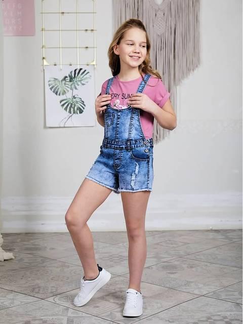 Полукомбинезон джинсовый Luminoso для девочек