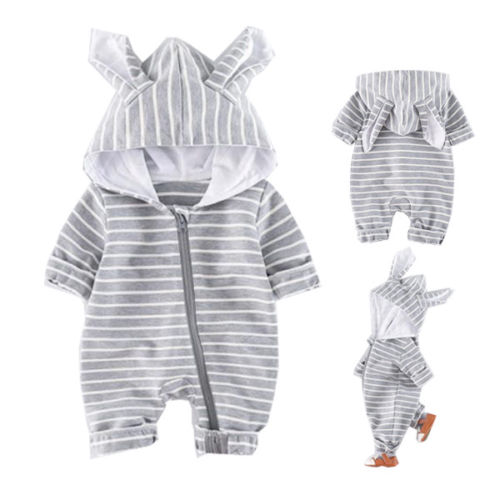 58f1f5d44 Brand New Newborn Toddler Baby Boy Girl Striped Hooded Long Sleeve ...