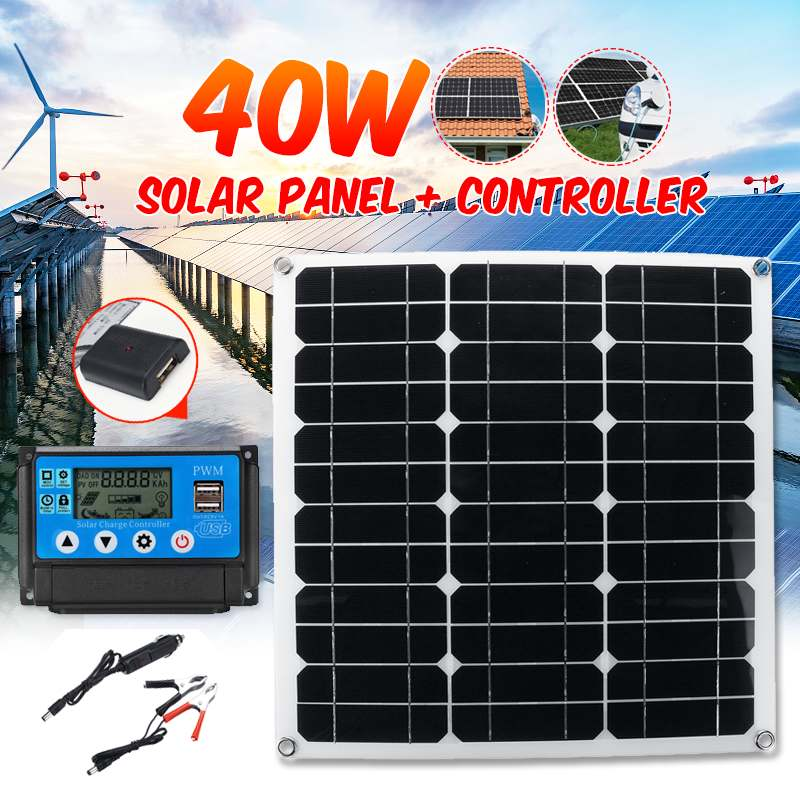 40W 12V 5V Dual Output Solar Panel USB Port Battery Charger 10 20 30 40 50A
