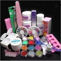 32 in 1 Acrylic Nail Art Tips Liquid Buffer Glitter Deco Tools Full Kit Set Women DIY Nail Art Manicure Suit