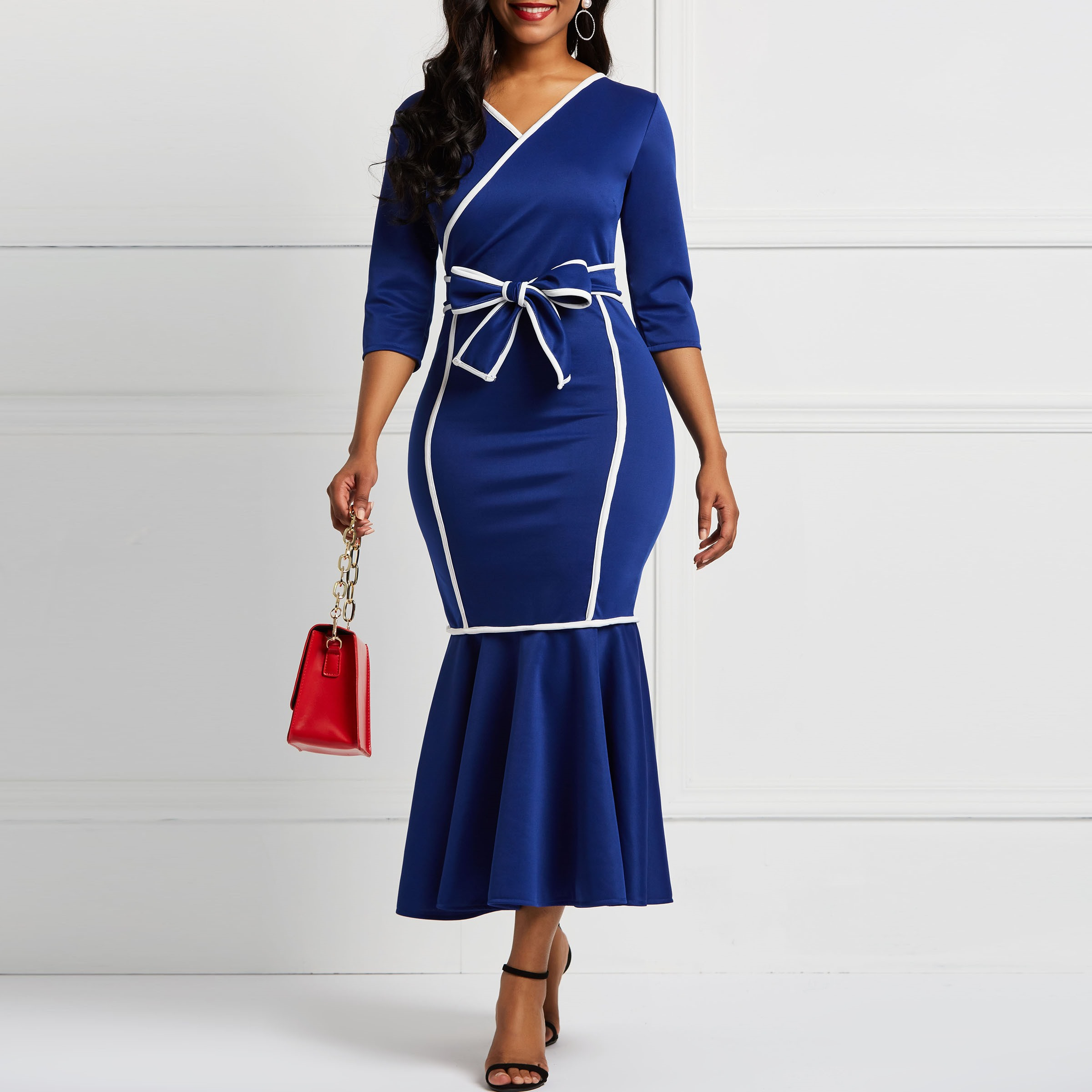 53ee07bc50 Elegant Sexy Women Christmas Dinner Dresses Bodycon Flare Sleeve ...