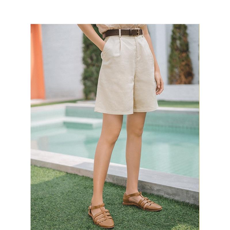 INMAN 2019 verano nueva llegada de lino sólido algodón cintura media minimalismo todos los pantalones cortos informales literarios