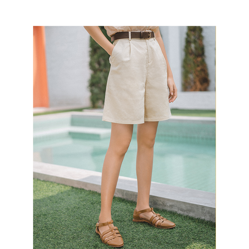 INMAN Summer Solid Linen Cotton Medium Waist Minimalism All Matched Literary Casual Women Short Pants