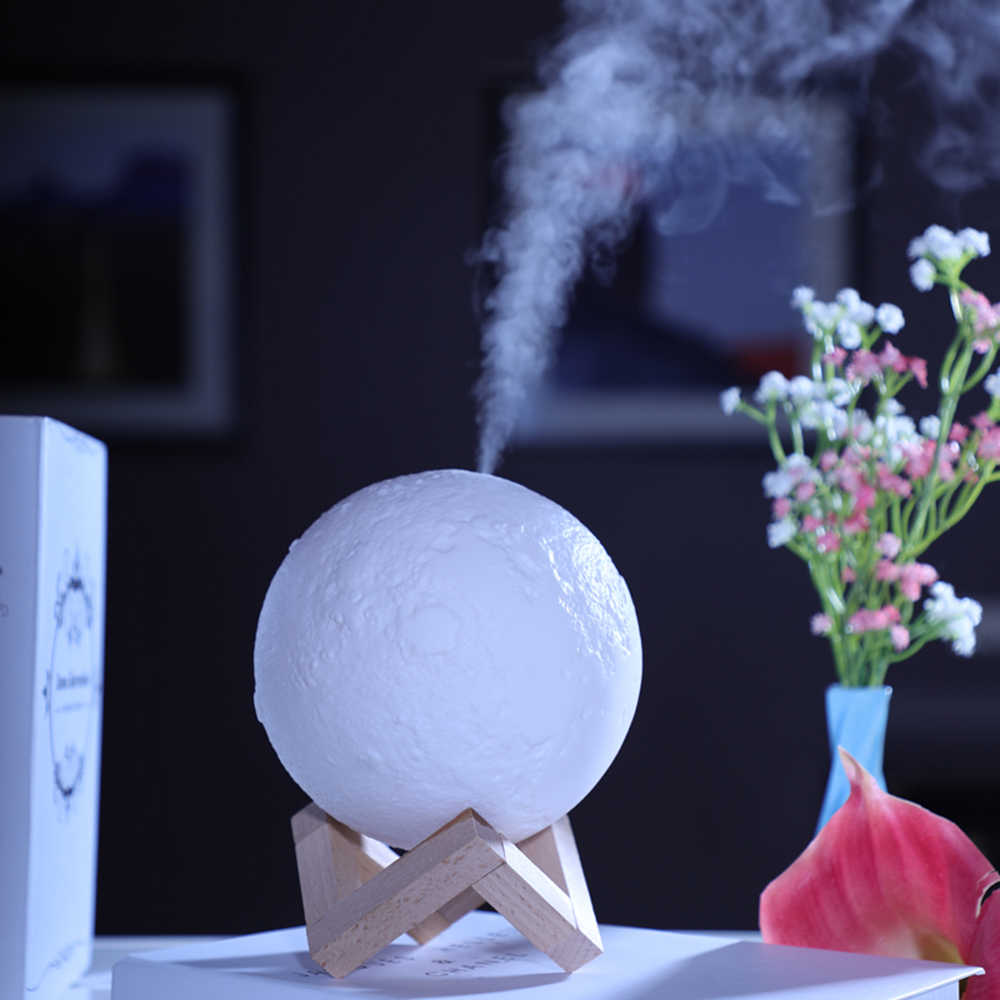880 ml дома Применение светодиодный Lunar увлажнитель воздуха 3D Moon лампа-диффузор аромат эфирного масла USB Перезаряжаемые Ультразвуковой очиститель воздуха