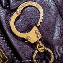 coppertist.wu vintage punk rock Bronze Color handcuff metal key chain ring unique keychain keyring creative trinket menotte