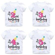 Футболка с надписью «Happy Birthday» и цифрой 1-7 для девочек Милая летняя одежда для малышей Забавная детская футболка с цифрами на день рождения HKP2432