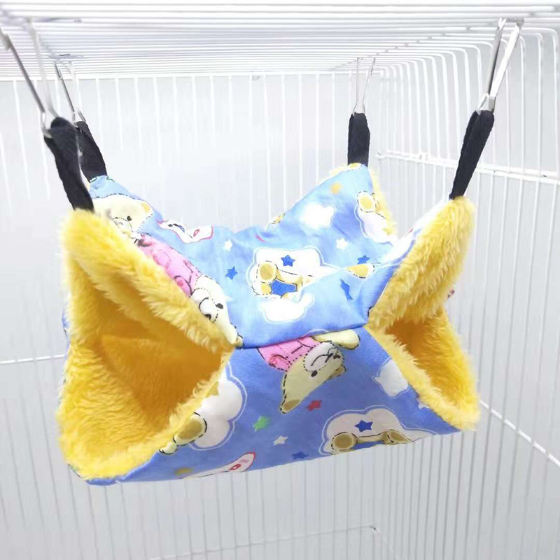 Pet Birds Hamster Hammock Hanging Bed Double Layer Rat Squirrel Warm House